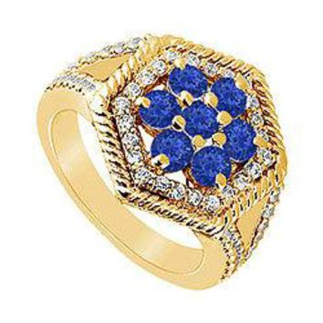 Sapphire and Diamond Flower Ring : 14K Yellow Gold - 1.50 CT TGW