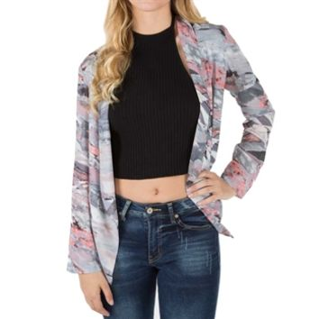 Lush Juniors Printed Open Front Chiffon Jacket at Von Maur