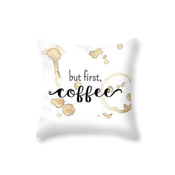 But First Coffee Gifts Coffee Pillow Coffee Lovers Gift Typography Pillow Coffee Decor Bedroom Decor - Decorative Pillows Coffee Accessories