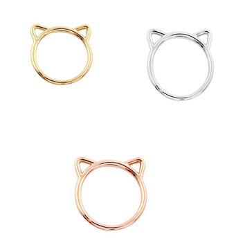 2016 New Fashion Ring Cute Small Animal Cute Hammered Kitty Cat Rings for Women Gift R090