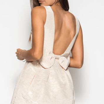 Metallic Bow Back Fit N Flare Dress
