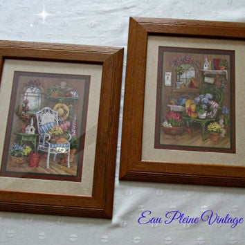 Home Interiors Gifts Vintage Homco Framed Set Country Floral Garden Prints  Barbara Mock Signed