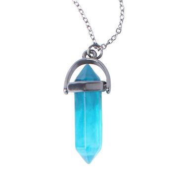 LOVEsick Teal Crystal Necklace