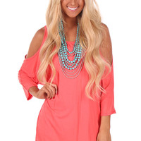 Coral Open Shoulder Dolman Sleeve Top