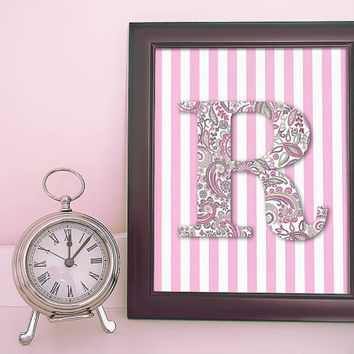 Personalized Monogram - Pink Paisley with Stripes - Art Print - Typography Poster - 8 x 10 Wall Decor