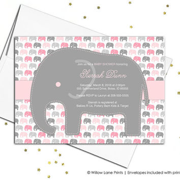elephant baby shower invitations for girls - gray pink girls baby shower invite baby elephant - print yourself or printed - WLP00735