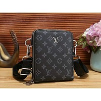LV Fashion Women Men Monogram Leather Handbag Shoulder Bag Crossbody Satchel Black LV Print I-OM-NBPF