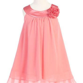 Girls Coral Chiffon Shift Dress with Satin Trimmed Yoke Bodice 2T-14