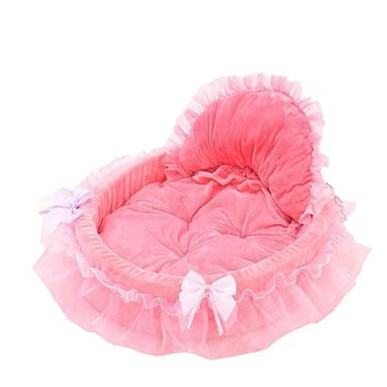 Pet Dog Puppy Princess Bows Lace Heart Elegant Lovely Bed Doghouse