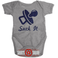 Funny Baby Bodysuit - Suck It Pacifier Unisex Boy's Girl's Baby Creeper Baby One Piece Custom Cute