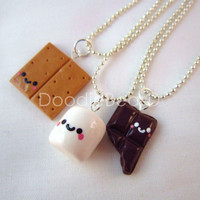 Best Friends Kawaii S'mores Polymer Clay Charms BFF by DoodieBear