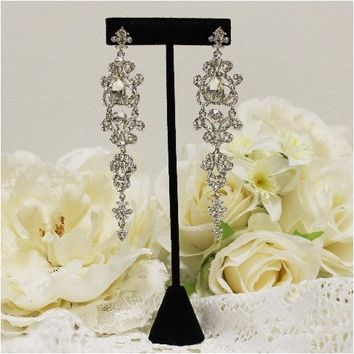 Diamond silver rhinestone earrings