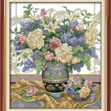 Oriental Vase Flower Set Canvas DMC Cross Stitch Kit Art Crafts Accurate Printed Embroidery DIY Handmade Needle Work Home Decor