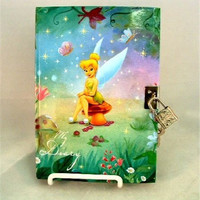 """Tinkerbell """"My Diary"""" with Lock and Key - Disney Fairies - Peter Pan Fairy Private Journal"""