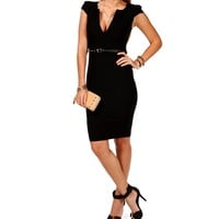 Black Cap Sleeve Midi Pencil Dress