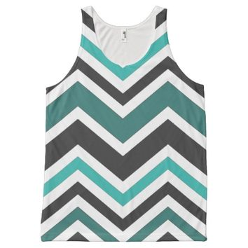 Teal Chevron Pattern All Over Print Tank Top