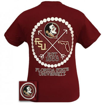 FSU Florida State Seminoles Preppy Arrow Pearls Girlie Bright T-Shirt