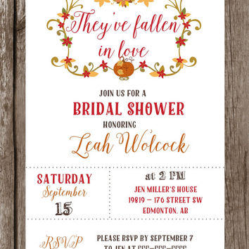 Printable fall bridal shower invitation / rustic fall bridal shower invite /  fall wreath shower invite / autumn bridal shower invite