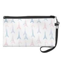 Paris Eiffel Tower Blue Pastel Wristlet Bag