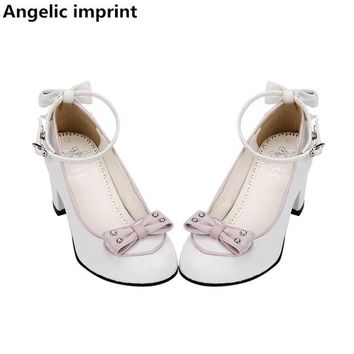 Angelic imprint woman mori girl lolita cosplay shoes lady high heels pumps women princess dress party shoes bowtie 33-47 6.5cm