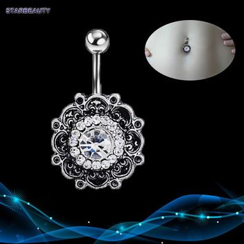 Vintage Flower Navel Piercing, Crystal Belly Button Rings Summer Body Piercing Ombligo, Sexy Navel Piercings Navel Ring