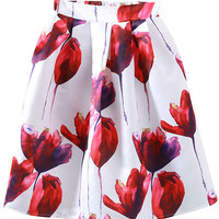 Poppy Floral Print Pleated Swing Skirt - OASAP.com