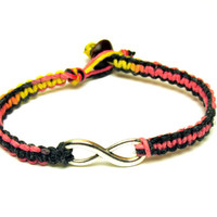 Infinity Bracelet, Black Pink Yellow Macrame Hemp Jewelry, Couples or Best Friends, Valentines Day