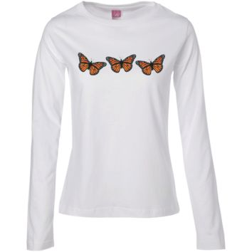 Three Monarch Butterflies Ladies' Long Sleeve Cotton T-Shirt