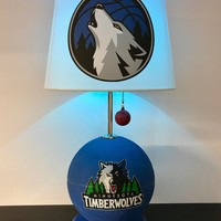 Minnesota Timberwolves Lamp, Wolves light, basketball light, NBA decor, basketball lamp, kids room, man cave, unique gift