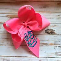 Glitter Monogram Hair Bow, Headband, Monogrammed gifts for Children, Boutique Hair Bows, Hair Accessory