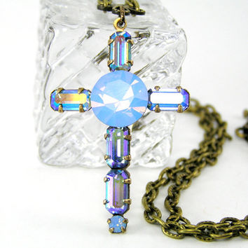 Easter Cross Necklace,  Vintage Glass Stone, Sapphire Blue,Spring Jewelry, Spiritual, Christian Gift