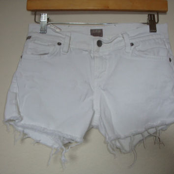CITIZENS of Humanity JEANS frayed raw hem women White stretch denim shorts Size 26 cut offs AVA