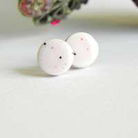 Romantic Tiny Ceramic Post Earrings Pastel Pink Circle Hypoallergenic Studs Red Blue Dots Pottery