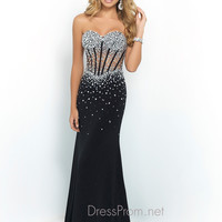 Black Jersey Blush Prom Dress 9963