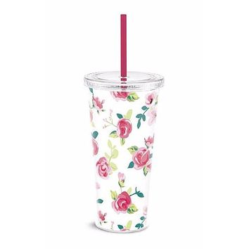 Vintage Patterned Floral Tumbler with Pink Straw