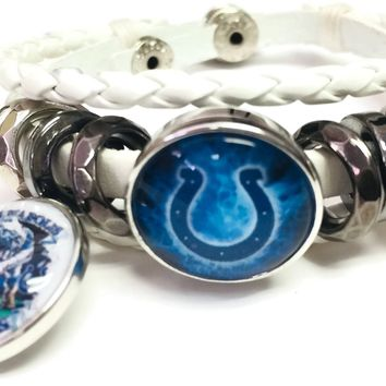 NFL Game Face Blue Smokey Horseshoe Indianapolis Colts Bracelet White Leather Football Fan W/2 18MM - 20MM Snap Charms New Item