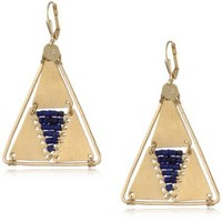 "Double Happiness Jewelry ""Corseted"" Lapis Gold-Tone Half Diamond Shape Earrings"