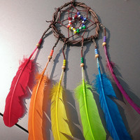 Rainbow Dream catcher - Grape Vine Dream Catcher - Rainbow hippie Dream Catcher - boho dreamcatcher