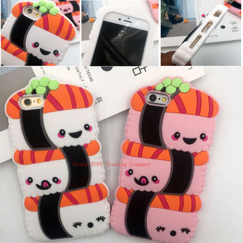 New style Fashion Kawaii Cute 3D panda Cartoon Japan Sushi Soft silicone Back cover Case For iPhone 7 plus 5 5S SE 5C 6 6S Plus