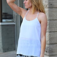 Solid Y Back Tank {White}