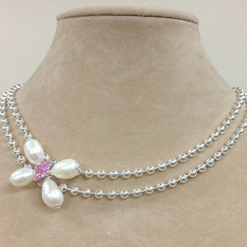 925 Italian Sterling Silver Double Strand Bead Chain Necklace Teardrop Freshwater Pearls Pink Zirconia Butterfly Pendant Bridal Necklace