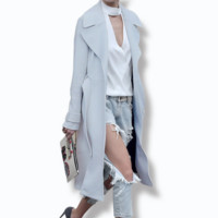 Autumn and winter new fashion large lapel simple woolen coat long wool coat