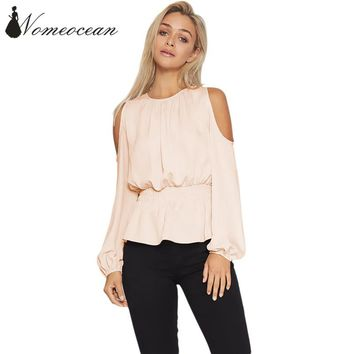 Elastic Waist Peplum Blouses Cut Out Cold Shoulder OL Shirt 2017 Autumn Long Sleeve Shirts of Girls Hollow Out Back M17092019