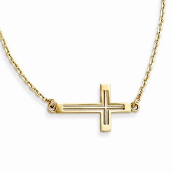 14K Yellow Gold Sideways Cut-out Cross Necklace 19 Inch