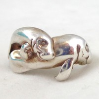 Vintage KABANA Sterling Silver Two Manatees Ring Sz 6