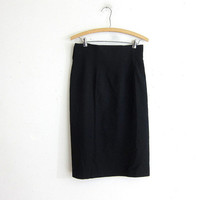 Vintage black wool pencil skirt / high waist skirt / Anne Tyler