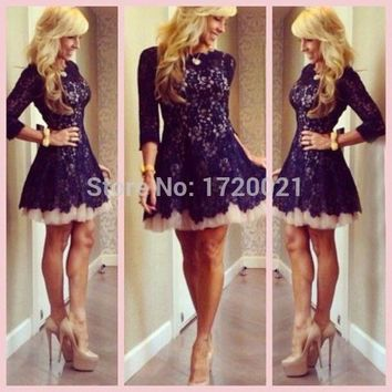 Delicate Homecoming Dresses Crew Short Mini Black Lace Long Sleeve A Line Cocktail Dresses 2015 Vestidos