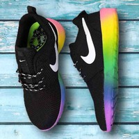 """NIKE"" Roshe Trending Fashion casual sports shoes Colorful Rainbow Contrast shoes"