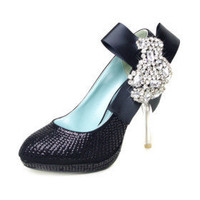 Handmade Leatherette Upper Stiletto Heel Closed Toe With Sequin/ Rhinestone Wedding/ Party Shoes - $129.48