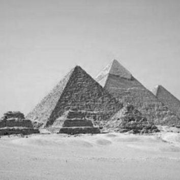"Pyramids Poster Black and White Poster 24""x36"""